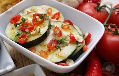 Fresh aubergines stock photo, Fresh aubergines by Yvonne Bogdanski