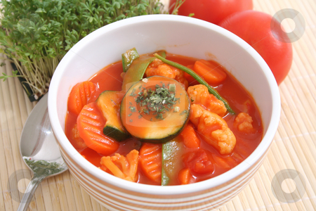 Minestrone stock photo, Italian soup by Yvonne Bogdanski