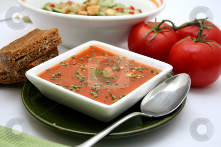 Fresh soup stock photo, Fresh soup of tomatoes by Yvonne Bogdanski