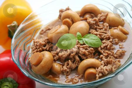 Meat-sauce stock photo, Meatsauce with mushrooms by Yvonne Bogdanski