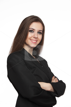Smiling young business woman stock photo, Smiling young business woman over white by Ivelin Radkov