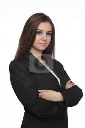 Confident young business woman stock photo, Confident young business woman over white background by Ivelin Radkov