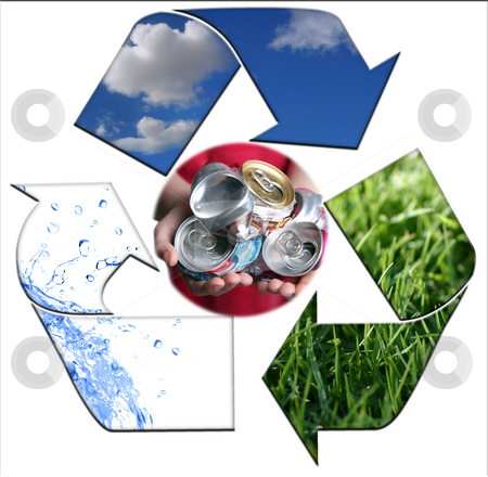 Keeping the Environment Clean With Recycling Aluminum stock photo, Abstract Recycling Symbol Representing Air, Land and Sea With Aluminim Cans by Katrina Brown