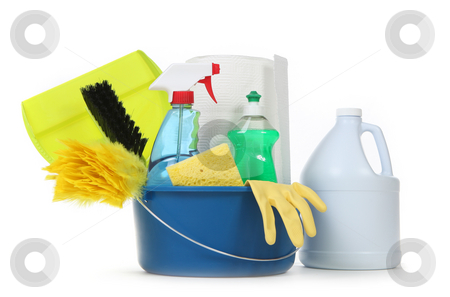 Blank Household Cleaning Supplies in a Bucket stock photo, Household Cleaning Supplies in a Bucket on White Background by Katrina Brown