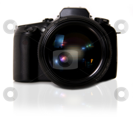 DSLR Camera on White Background stock photo, DSLR Camera on White Background With Mirror Shadow by Katrina Brown
