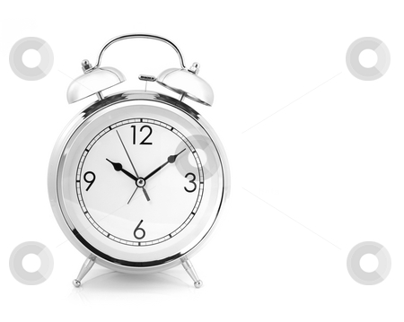 Windup Type Alarm Clock stock photo, Old Fashioned Windup Loud Alarm Clock With Space for Your Text by Katrina Brown