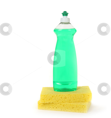 Dishwashing Liquid in a Bottle With 2 Yellow Sponges stock photo, Dishwashing Liquid in a Bottle With 2 Yellow Sponges on White With Copy Space by Katrina Brown