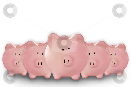 5 Piggy Banks Lined up stock photo, 5 Piggy Banks Lined up Waiting for Your Savings by Katrina Brown