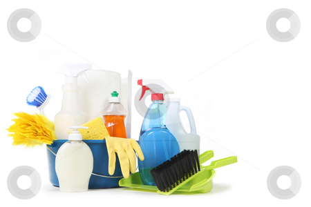 Household Cleaning Products in a Blue Bucket stock photo, Household Cleaning Products in a Bucket With Copy Space by Katrina Brown