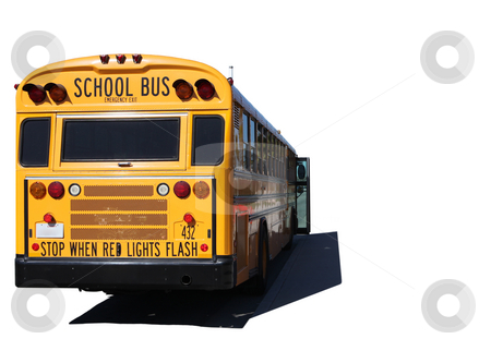 Isolated School Bus Outdoors on a Sunny Day stock photo, School Bus on a Field Trip Isolated on White by Katrina Brown