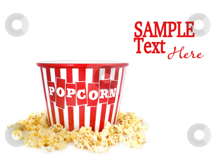 Container Surrounded by Pop Corn stock photo, Red Popcorn Ceramic Container Surrounded by Pop Corn With Copy Space by Katrina Brown