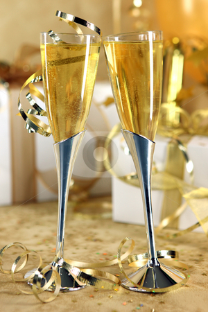 Golden Champagne Celebration stock photo, Golden Champagne Celebration With Bubbly and Gifts by Katrina Brown