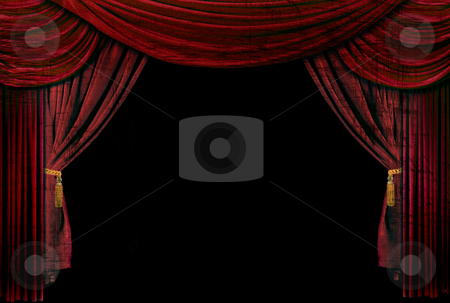 Old fashioned, elegant theater stage drapes stock photo, Old fashioned, elegant theater stage with velvet curtains. by Katrina Brown