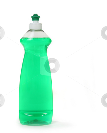 Green Dishwashing Liquid Soap in a Bottle Isolated stock photo, Green Dishwashing Liquid Soap in a Bottle Isolated on White Background by Katrina Brown