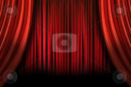 Old fashioned elegant stage with swag velvet curtains stock photo, Old fashioned, elegant theater stage with swag velvet curtains by Katrina Brown