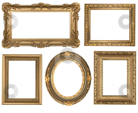 Vintage Detailed Gold Empty Oval and Square Picure Frames stock photo, Decorative Gold Empty Oval and Square Wall Picture Frames Insert Your Own Design by Katrina Brown
