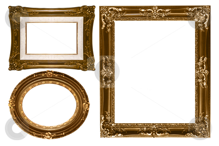 Oval and Rectangular Decorative Gold Empty Wall Picture Frames stock photo, Decorative Gold Empty Wall Picture Frames to Insert Your Own Design by Katrina Brown