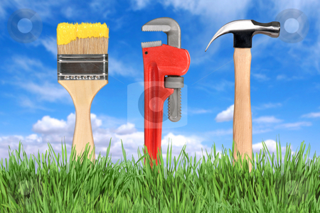 Home Improvement Tools Paintbrush, Pipe Wrench and Hammer stock photo, Household Home Improvement Tools Paintbrush, Pipe Wrench and Hammer by Katrina Brown