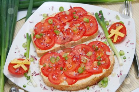 Breakfast stock photo, Bread with tomatoes by Yvonne Bogdanski