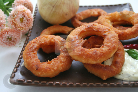 Onion rings stock photo, Onion rings by Yvonne Bogdanski