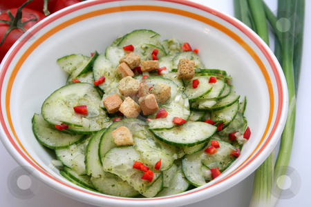 Fresh salad  stock photo, Fresh salad of cucumbers by Yvonne Bogdanski
