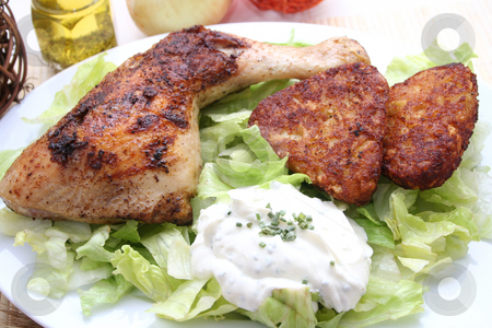 A meal stock photo, A meal of chicken and salad by Yvonne Bogdanski
