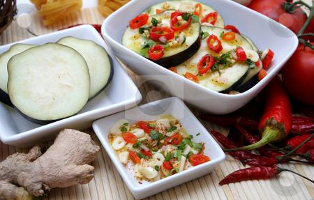 Aubergines stock photo, Fresh aubergines by Yvonne Bogdanski