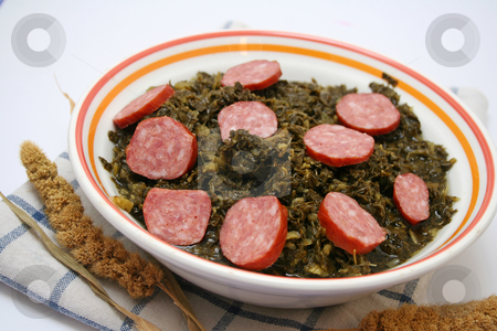 Green cabbage stock photo, Green cabbage with sausage by Yvonne Bogdanski