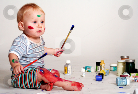 Young painter stock photo, Young painter by Yvonne Bogdanski