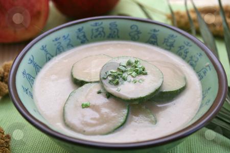 Fresh soup stock photo, Fresh soup of peas and zucchinis by Yvonne Bogdanski