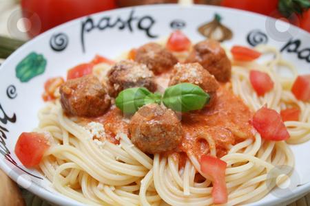Fresh pasta stock photo, Pasta and meatballs by Yvonne Bogdanski