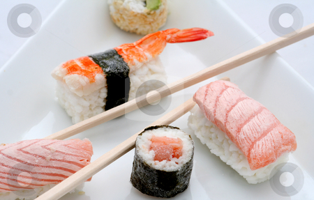 Frozen sushi stock photo, Japanese sushi by Yvonne Bogdanski