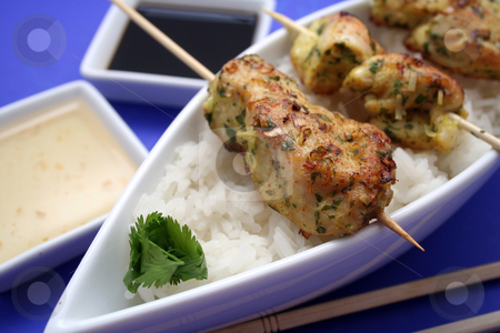 Satay stock photo, Asian food by Yvonne Bogdanski