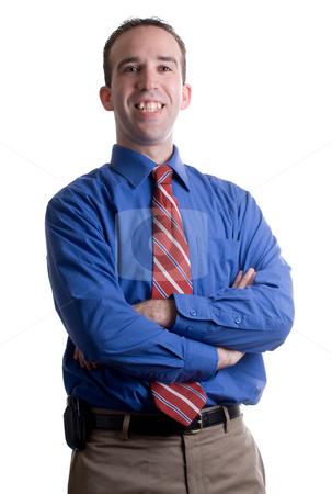 Businessman Portrait stock photo, Portrait of a smiling businessman with a strong shadow on the right side of his body and face by Richard Nelson