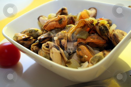 Salad of mussels stock photo, Salad of mussels by Yvonne Bogdanski