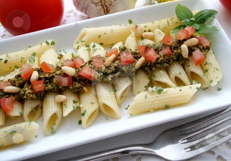 Pasta and pesto stock photo,  by Yvonne Bogdanski