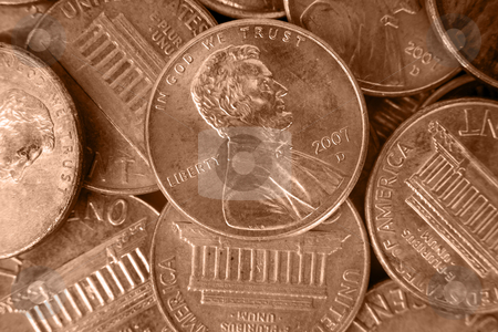 Coin Pile Background stock photo, A close up on a pile of coins. by Travis Manley