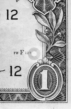 One Dollar Bill stock photo, A close up on a one dollar bill. Shallow depth of field. by Travis Manley
