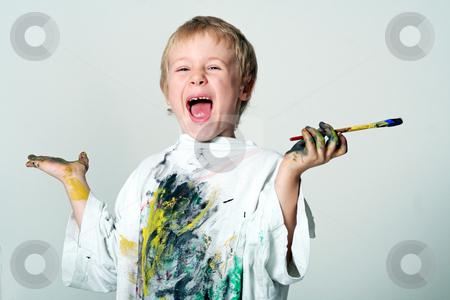 Young painter stock photo, Kinderportrait by Yvonne Bogdanski