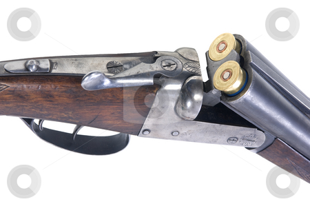 Loaded weapon stock photo, An old 16-gauge shotgun with two cartidges inserted into the chambers by Corepics VOF