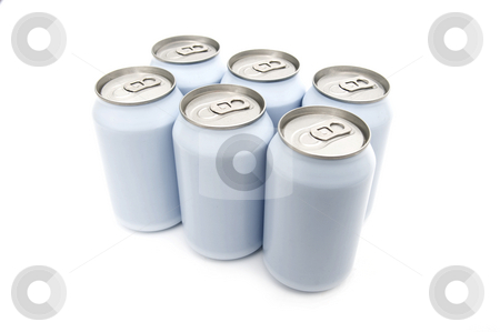 Six pack beverage cans stock photo, A six pac of off-white beverage cans on a white background by Corepics VOF