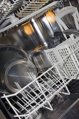 Stainless steel Dishwasher stock photo, Dishwasher interior with pots, pans and cutlery by Corepics VOF