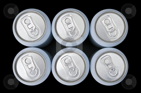 Sixpack from above stock photo, A six pack beverage cans seen from above with a slight perspective by Corepics VOF