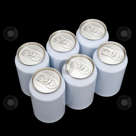Sixpack beverage cans stock photo, A six pack of unprinted beverage cans on a black background by Corepics VOF