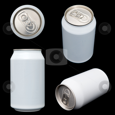 Projections of a blank beverage can stock photo, Four projections (top, front, ortogonal and perspective) of a blank beverage can. Clipping paths of all views are included in the largest file size. by Corepics VOF