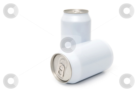 Two white beverage cans stock photo, Two white beverage cans, with the focus on the easy open end of the front can by Corepics VOF