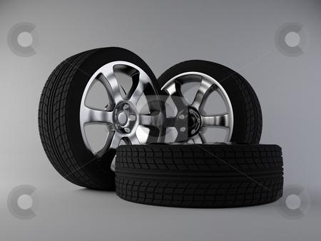Wheels stock photo, 3d render of aluminum wheels by Hunor Focze