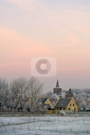 Winter dawn on Ellewoutsdijk, the Netherlands stock photo, The winter dawn on small rural village of Ellewoutsdijk, Zeeland (Zuid-Beveland) the Netherlands by Corepics VOF