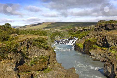 Hraunfossar stock photo, The spectacular Hraunfossar cascades in Iceland by Corepics VOF