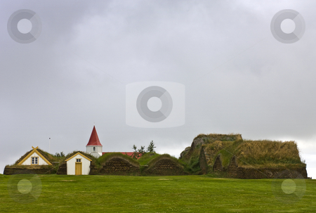 Glaumbaer Historic Farm stock photo, The historic farm complex with the typical grass covered roofs for insulation at Glaumbaer, Iceland by Corepics VOF